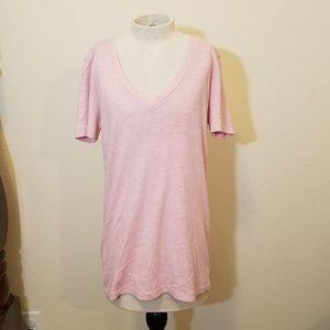 Eddie Bauer Outdoor Womens Pink V-Neck Tee Shirt